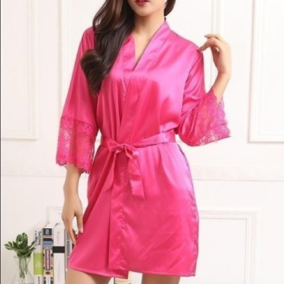 ab64709320 NEW Hot pink robe silky soft robe. Sexy night gown